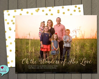 Christmas New Year's Religious Christian Wonders of His Love Photo Card, Gold Glitter - PRINTABLE DIGITAL FILE - 5x7 Includes a backside.