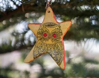 Blazing Owl Christmas Star Ornament