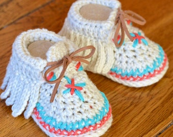 Crochet Pattern Baby Moccasins 3 Sizes Easy Photo Tutorial Digital File Instant Download