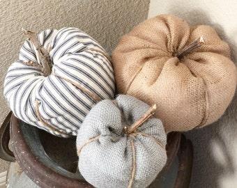 Rustic fabric pumpkin set