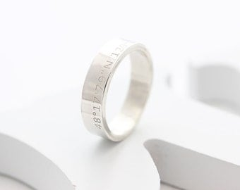 Personalized Engraved Wide Ring, Coordinates Ring, Name ring, Roman numeral RIng,  Location Ring, INnitial RIng, wedding gift, gift for her