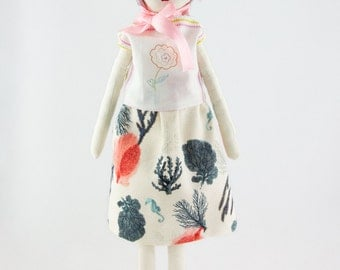 Coral rag with bunny ears Beanie doll