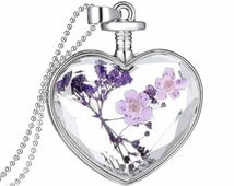 beautiful accessories purple flower Women Dry Flower Heart Glass Wishing Bottle Pendant Necklace