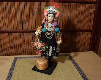 Vintage Thai Tribal Ethnic Doll Hand Made 12.5 inches Tall