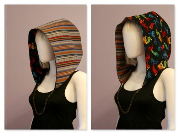 Crystal Hoods / festival hood / reversible / colorful / geometric / kokopelli / aztec