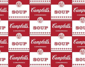 Campbells Soup Cans cotton fabric by Springs Creative Red and White
