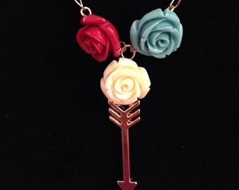 Arrow and Roses Necklace