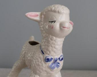 Vintage 1940's Porcelain Lamb Baby Arrangement Container
