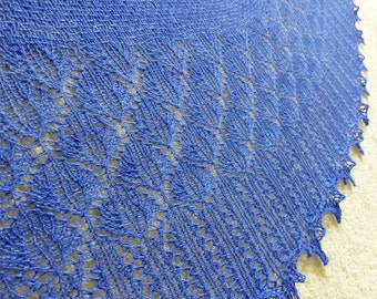 Brilliant Mountain Bluebird Crescent-shaped Shawl in Blue-faced Leicester and Silk