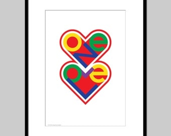 Typography art print, romantic poster, typography poster, heart print, Two hearts one love,  romantic poster, home decor, bedroom wall art