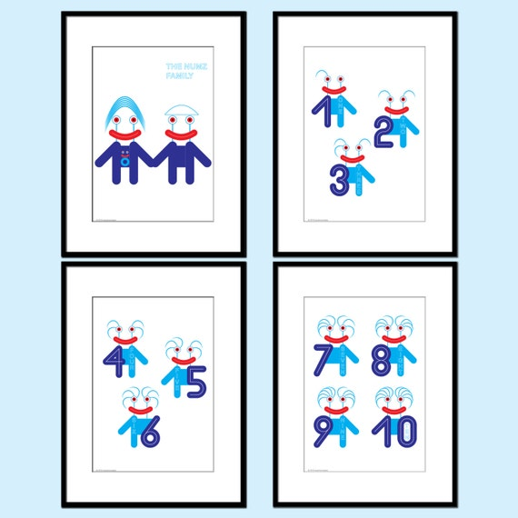 Educational poster nursery print set of 4 number art prints