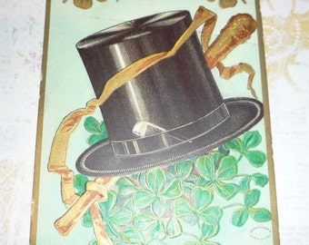 on sale Black Top Hat and Shamrocks - Every Fond Wish St. Patrick's Day Antique Postcard