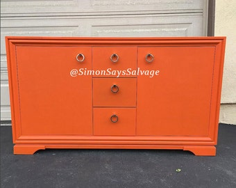 Orange, Gold Mid Century Modern Dresser, tv stand or Credenza, Buffet, Changing Table