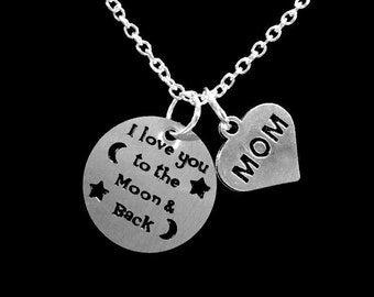 Mom Gift, I Love You To The Moon And Back Necklace, Mom Mother Gift Necklace