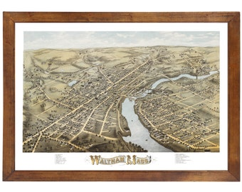 Waltham, MA 1877 Bird's Eye View; 24x36 Print from a Vintage Lithograph
