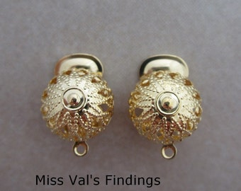 10 gold filigree clip on earclips