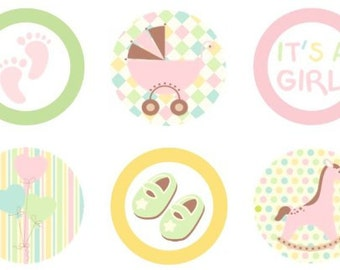 Baby Shower Pink Pastels Edible Cupcake Topper Decorations - Set of 12 Toppers