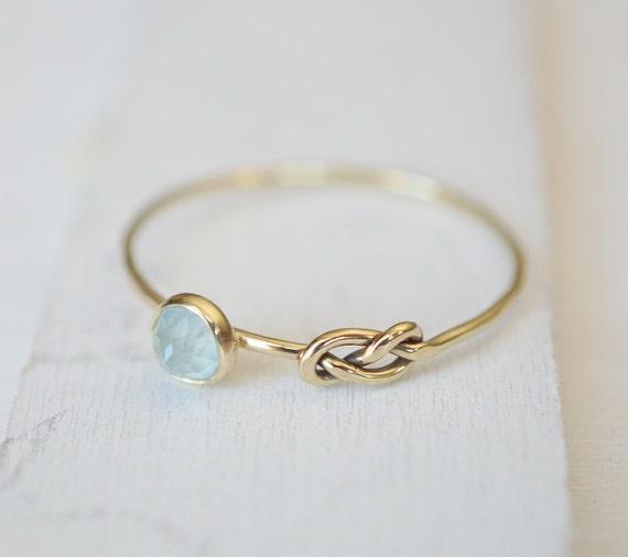 Aquamarine Infinity Knot Ring