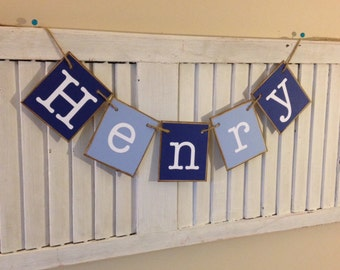 Baby Boy Personalized Name Banner Shades of Blue Baby Shower Nursery Decor Newborn Photo Shoot