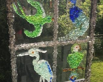 Genuine Sea Glass Artwork - Birds