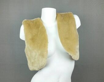 Faux Fur Crop Vest Beige Tan Fuzzy Cropped Bolero Vest 90s Vegan Fur