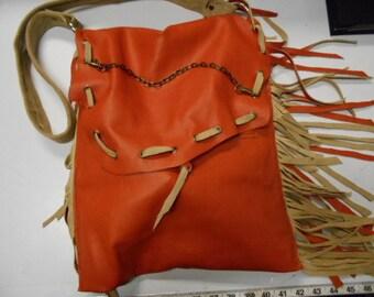 orange purse, orange shoulder bag, orange messenger bag, leather purse, leather shoulder bag, orange leather bag, leather fringe purse