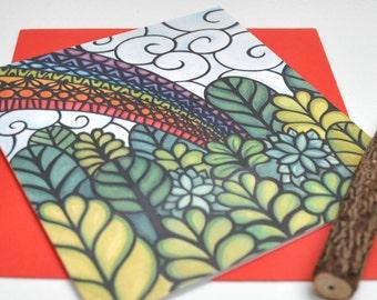 Rainbow Forest papercut print card