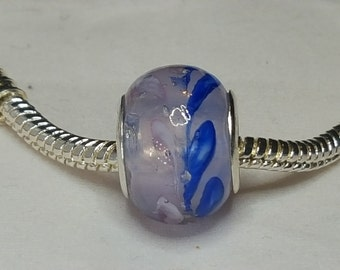 Pink Blue Glass Bead Spacer -Very Light Pink Murano-Very Unique with Swirls of Blue.- Fits all Designer and European Charm Bracelets*