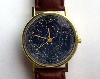 Celestial Blueprint Watch, Constellations, Vintage Space, Unisex Watch, Ladies Watch, Men's Watch, Astronomy, Gift Idea, Gift for Men