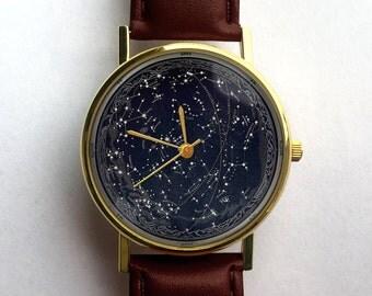 Celestial Blueprint Watch, Constellations, Vintage Space, Unisex Watch, Ladies Watch, Men's Watch, Astronomy, Gift Idea, Gift for Men