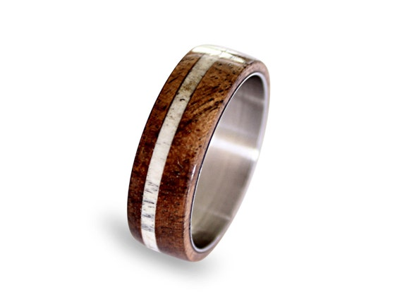 Deer Antler Ring Inlay, Mens Titanium Band, Oak Wood And Antler Inlays