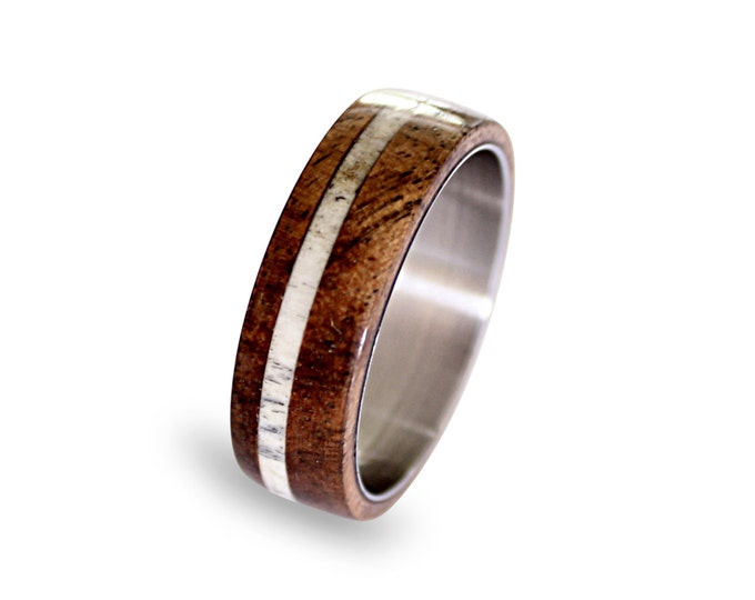 Deer Antler Ring Inlay, Mens Titanium Band, Oak Wood And Antler Inlays