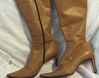 Vintage Davinci brown leather boots size 10
