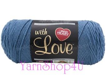 BLUEBELL Red Heart with Love Yarn, 7 oz yarn E400 1805, Blue Yarn Acrylic yarn Blue Acrylic Yarn, Size 4 yarn Medium yarn 100% acrylic 198 g