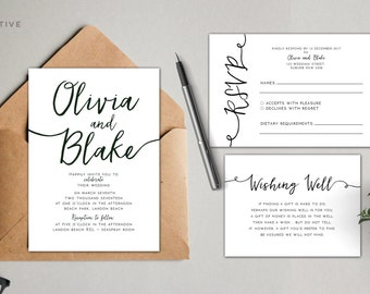 Printable Wedding Invitation Suite Monogram / Calligraphy / Custom / Download / Invitation Set / DIY / Digital
