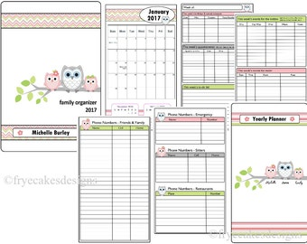 Personalized Family Planner & Calendar - Owl Theme - Start Any Month!