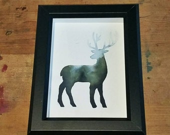 Misty forest stag - watercolour - deer - original art