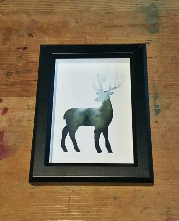 Misty forest stag - watercolour - deer - original art