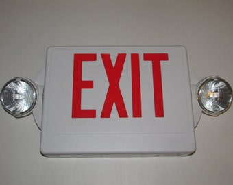 Exit Sign with Swivel Lights & Electrical Wiring - White Plastic Fire Exit