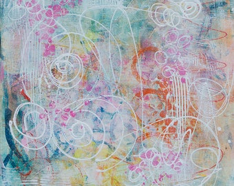 Abstract Acrylic || Cotton Candy and Ferris Wheels || Free Shipping