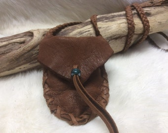 Medicine Pouch, Handmade Deer Hide Medicine Bag on Braid Strap, Brown Leather Bag, Deerskin Medicine Pouch, Made in Canada