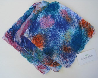 Vintage Linen Hand Dyed Hankie/Napkin Set