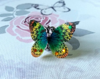 Rainbow Butterfly 3D Ring