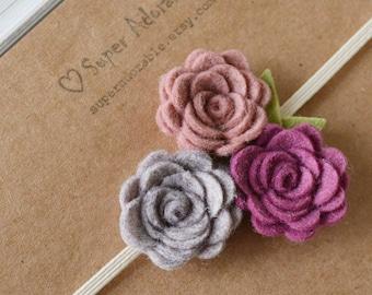 Wool felt flower headband Trio flowers headband Baby felt flower