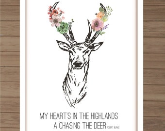 Vintage Deer Floral Print with Robert Burns quote, A3 Full Colour
