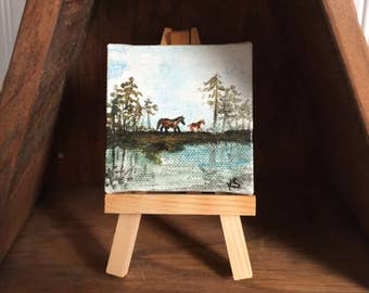 "Mini Chincoteague Ponies, Original Pony Painting with Easel, 2.75"" x 2.75 x .25"""