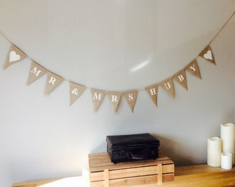 Personalised Vintage Wedding Bunting banner.Mr & Mrs. Bride Groom