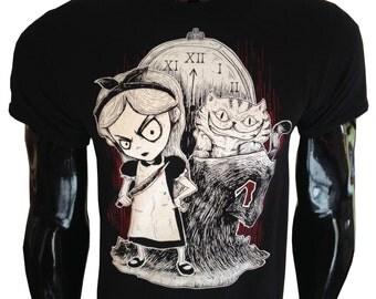 Gothic Alice T-Shirt wonderland dark evil mad nightmare steampunk cheshire cat