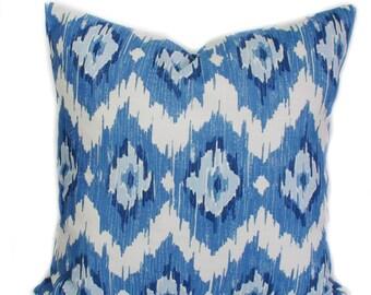 Blue pillow, 20x20, Blue pillow covers, Ikat pillow, Blue throw pillows, Couch cushion, Sofa cushions, Decorative pillow, Toss pillow