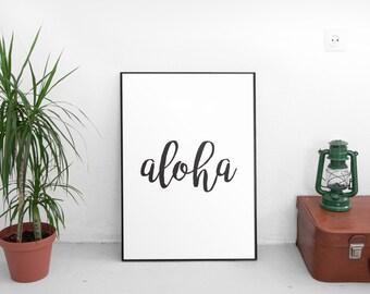 Aloha Print, Aloha Wall Art, Hawaii Print, Digital Prints, Home Decor, Printable Art, Black & White, Summer Wall Art, Coastal Art, Hawaiian